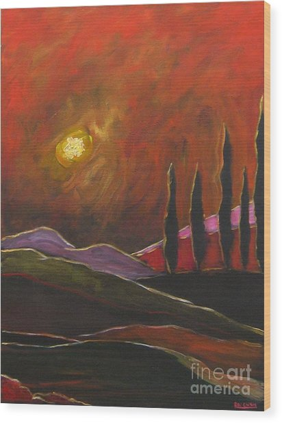 Tuscan Sunset Rage Wood Print