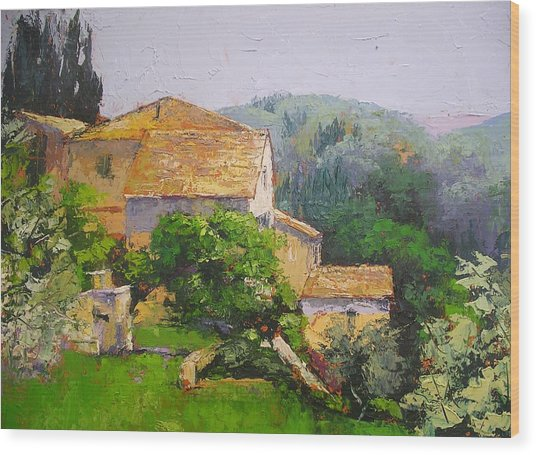 Tuscan Village Wood Print