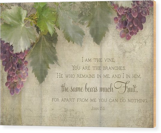 Tuscan Vineyard - Rustic Wood Fence Scripture Wood Print