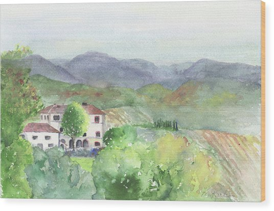 Tuscan Vineyards Wood Print