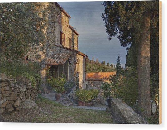 Tuscany Farmhouse  Wood Print