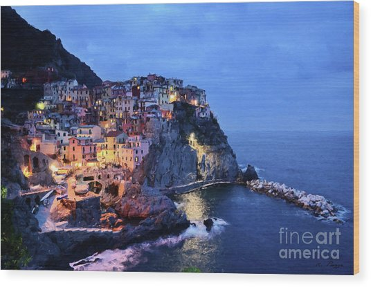 Tuscany Like Amalfi Cinque Terre Evening Lights Wood Print