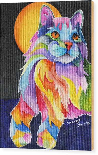 Tutti Fruiti Kitty Wood Print