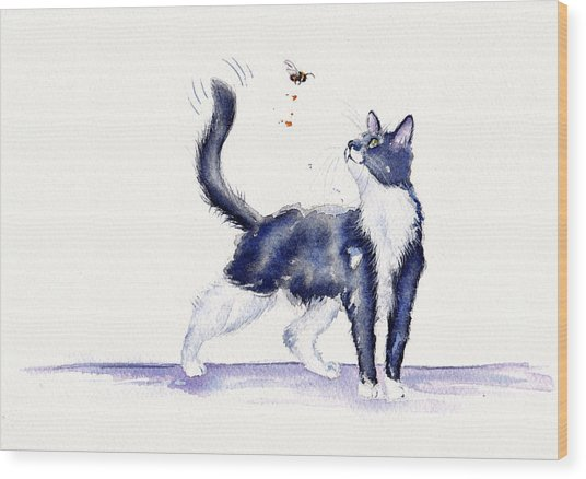 Tuxedo Cat And Bumble Bee Wood Print