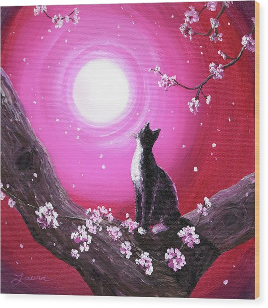 Tuxedo Cat In Cherry Blossoms Wood Print