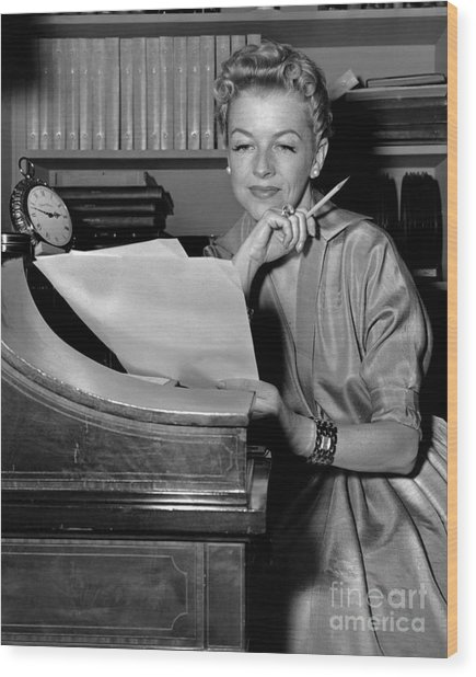 Tv And Big Screen Actress, Betty Furness. 1956 Wood Print by Anthony Calvacca