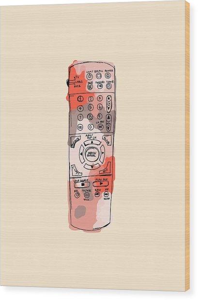 tv remote I Wood Print