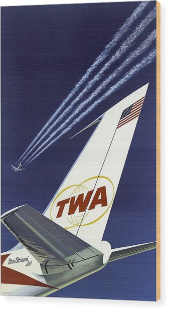 Twa Star Stream Jet - Minimalist Vintage Advertising Poster Wood Print