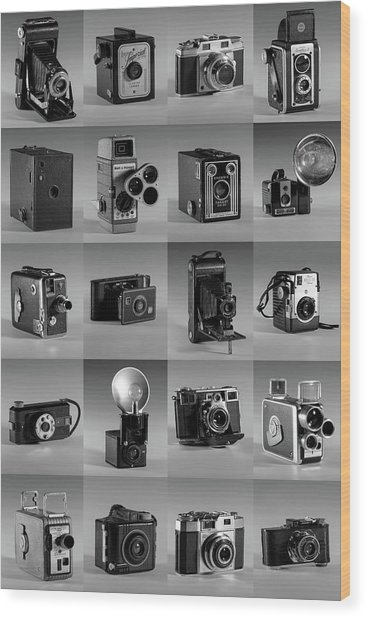 Twenty Old Cameras - Black And White Wood Print