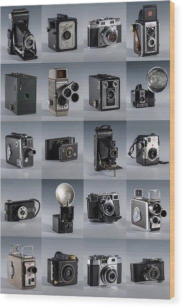 Twenty Old Cameras - Color Wood Print