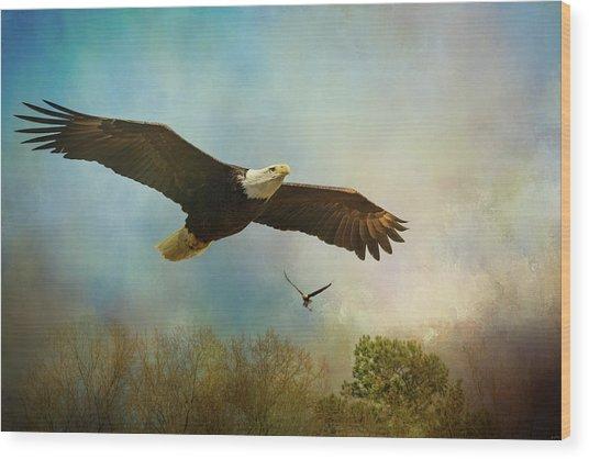Twice The Power Bald Eagle Art Wood Print