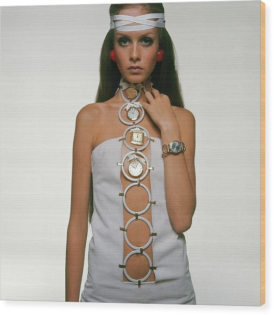 Twiggy Modeling Watches Wood Print by Bert Stern