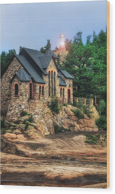 Twilight At Chapel On The Rock Wood Print