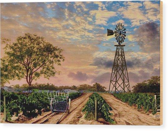 Twilight At The Vineyard Wood Print