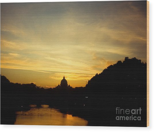 Twilight Behind The Vatican Wood Print by Fabrizio Ruggeri