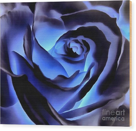 Twilight Blue Rose  Wood Print
