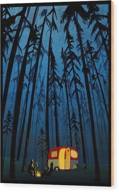 Twilight Camping Wood Print