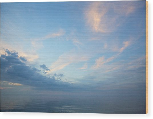 Twilight Clouds Over Lake Superior Wood Print