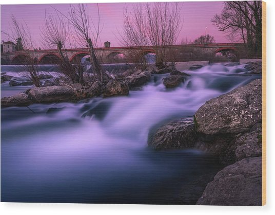 Twilight Falls Wood Print