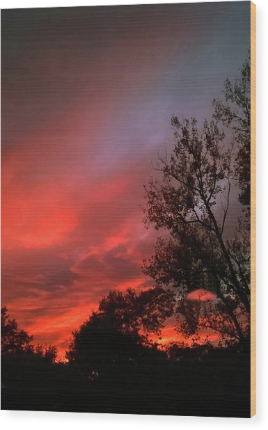 Twilight Fire Wood Print
