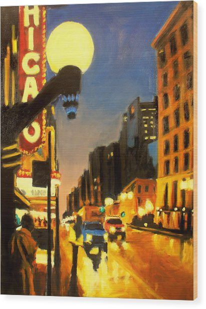 Twilight In Chicago - The Watcher Wood Print