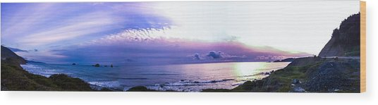 Twilight In Gold Beach Wood Print