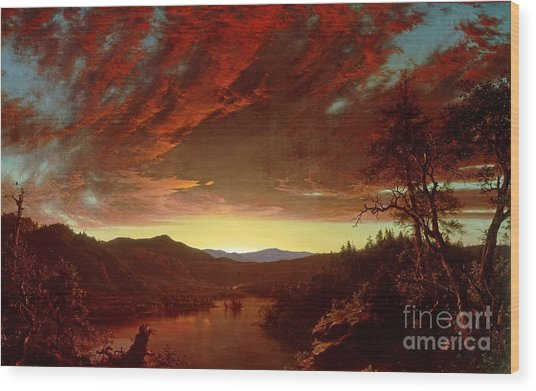 Twilight In The Wilderness Wood Print