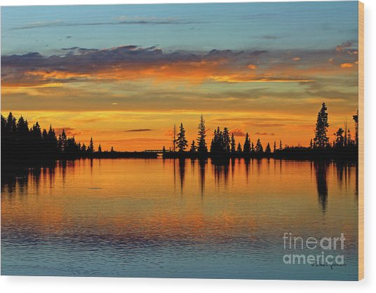 Twilight Lake Reflections In Colorado Wood Print