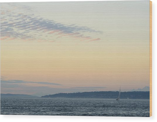 Twilight Moment In Puget Sound Wood Print
