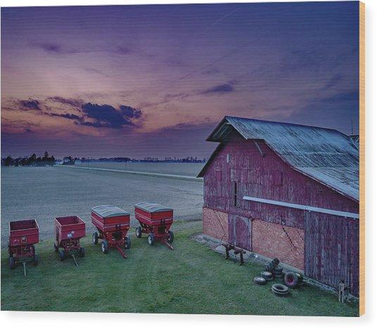 Twilight On The Farm Wood Print