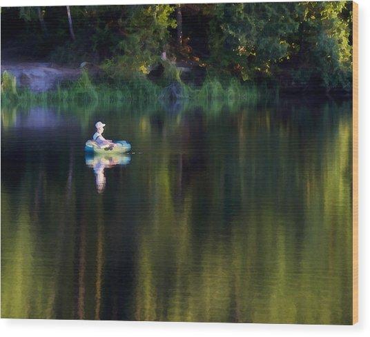 Twilight On The Lake Wood Print