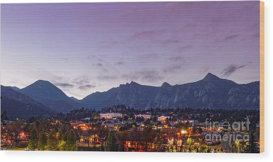 Twilight Panorama Of Estes Park, Stanley Hotel, Castle Mountain And Lumpy Ridge - Rocky Mountains  Wood Print