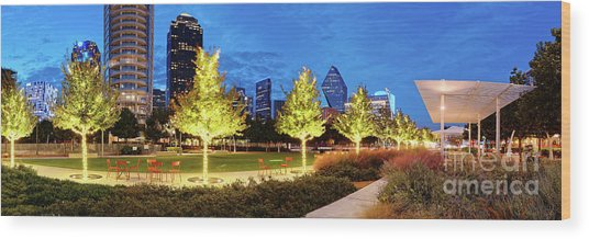 Twilight Panorama Of Klyde Warren Park And Downtown Dallas Skyline - North Texas Wood Print