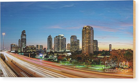 Twilight Panorama Of Uptown Houston Business District And Galleria Area Skyline Harris County Texas Wood Print