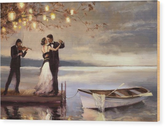 Wood Print featuring the painting Twilight Romance by Steve Henderson