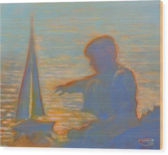 Twilight Sailor Wood Print by Kip Decker