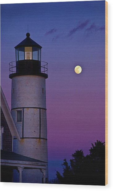 Twilight At Sandy Neck Lighthouse Wood Print