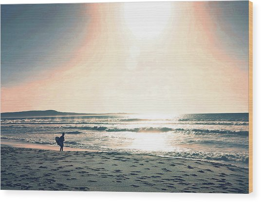 Wood Print featuring the photograph Twilight Surf by Pacific Northwest Imagery
