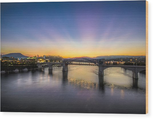 Twilight View, Chattanooga Wood Print