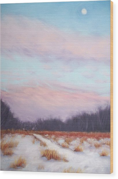 Twilight Winter Whisper Wood Print by Christine Camp