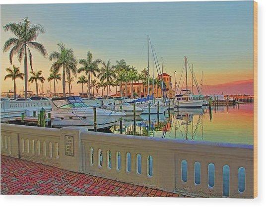 Twin Dolphin Marina Wood Print