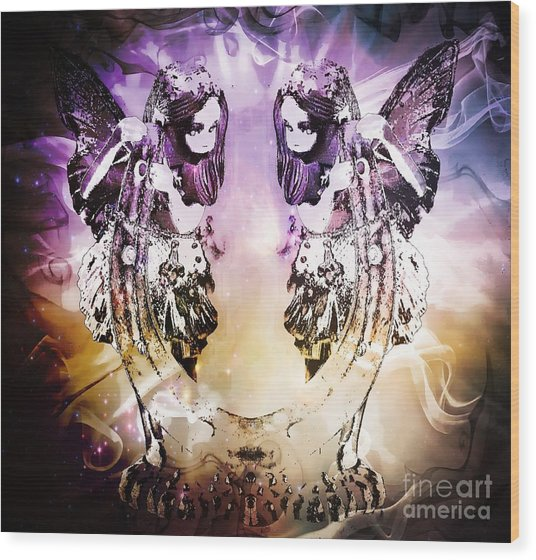 Twin Fairies 2 Wood Print
