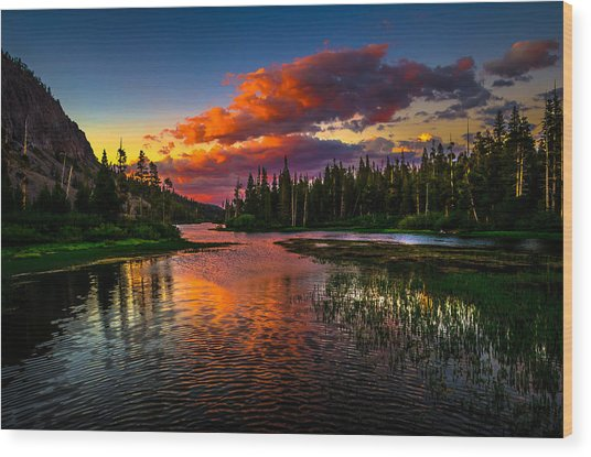 Twin Lakes Sunset Mammoth Lakes California Wood Print