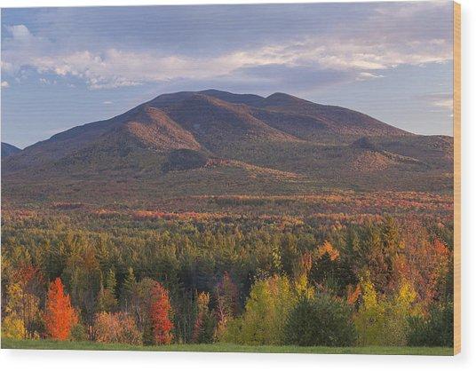 Twin Mountain Autumn Sunset Wood Print