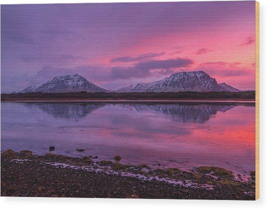 Twin Mountain Sunrise Wood Print
