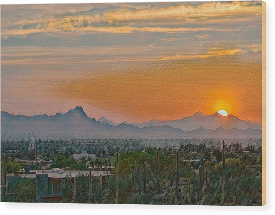 Wood Print featuring the photograph Twin Peaks Sunset Remix by Dan McManus