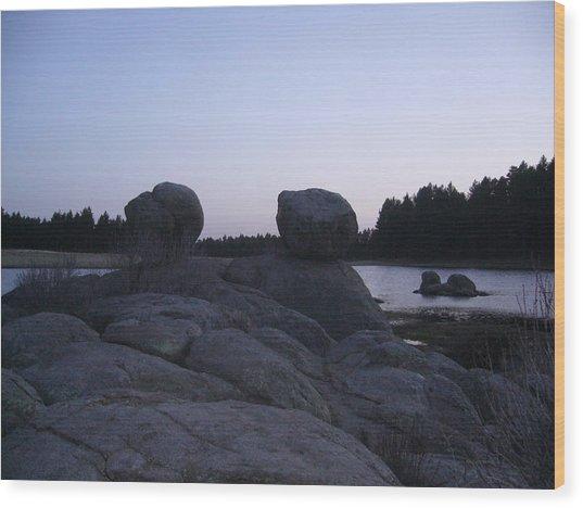 Twin Rocks Wood Print