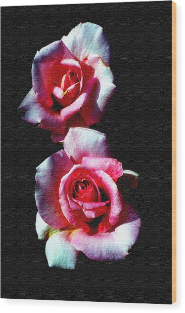 Twin Roses Wood Print by Ralph  Perdomo