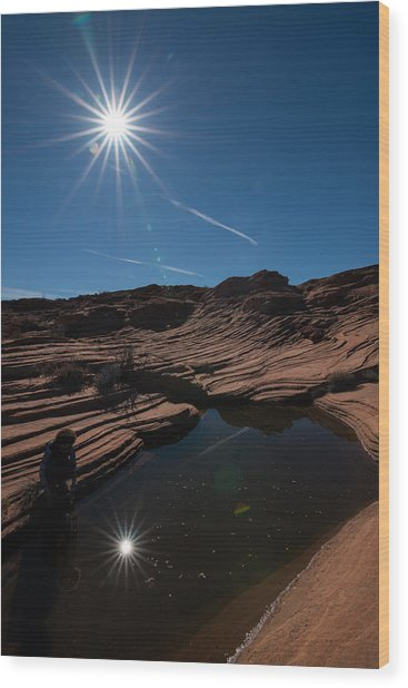 Twin Stars Reflection Wood Print