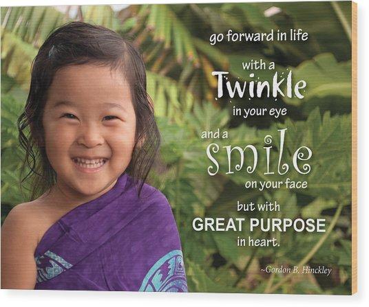 Twinkle Smile Wood Print
